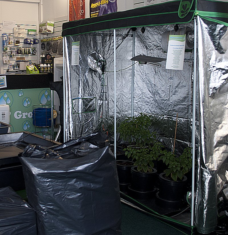Growing systems and tents can be demonstrated in our shop