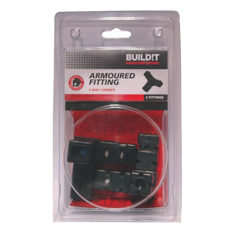 BUILD!T Black 3 Way Corner Connector - Pack of Two