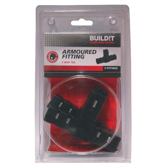 BUILD!T Black 3 Way Tee Connector - Pack of Two