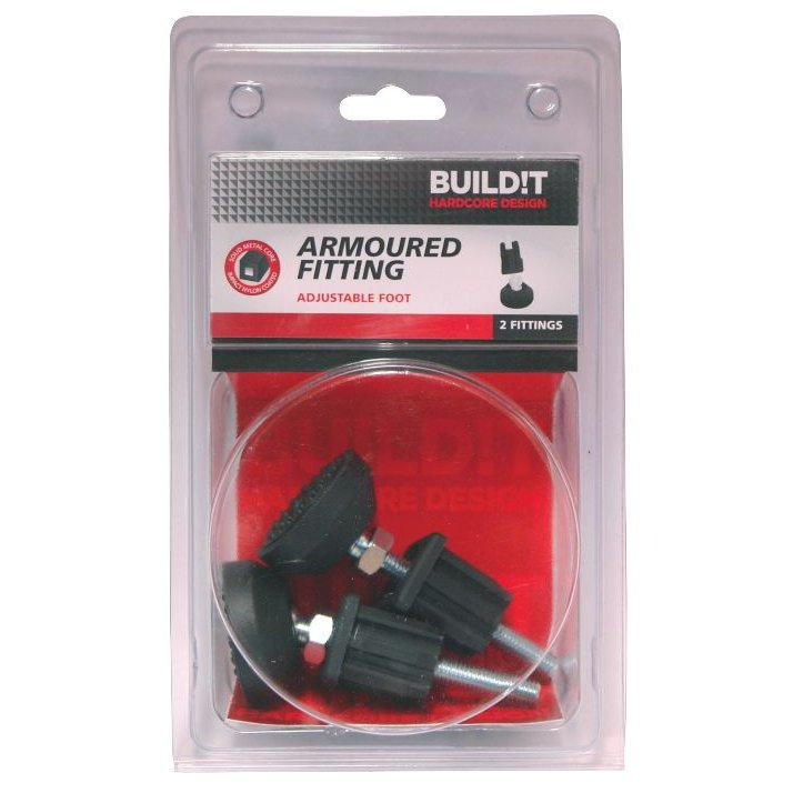 BUILD!T Black Adjustable Foot including End Cap - Pack of Two